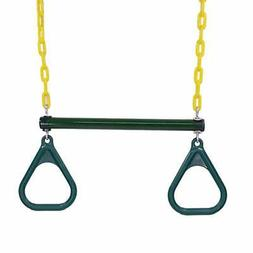 """18"""" Heavy Duty Trapeze Swing Bar Combo with Rings & Extra Lo"""