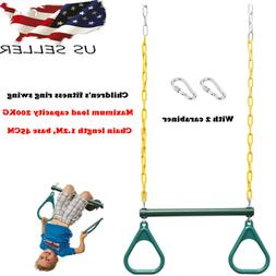 """18"""" Trapeze Swing Bar Rings Set Accessories Chain Jungle Gym"""