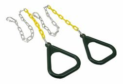 2 Pack Trapeze Gym Rings with Chains Plastic Coated Chains &