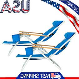 2PCS New Backpack Beach Chair Folding Blue Solid Constructio