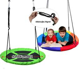 40'' Outdoor Tree Swing Chair Kids Round Hanging Rope Tire S