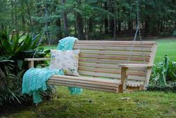 5ft Cypress Wood Deluxe Roll Porch Bench Swing With Hanging