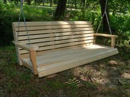 5ft REG Cypress Wood Wooden Porch Bench Swing WITH HANGING H