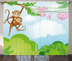 Ambesonne Nursery Curtains, Monkey Swinging with The Kid Bab