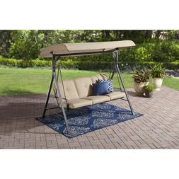 Beige 3 Person Cushioned Canopy Swing Outdoor Home Furniture