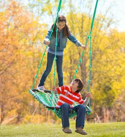Deluxe Platform Tree Swing w/ Nylon Rope and Padded Steel Fr