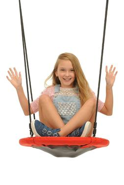 Swinging Monkey Products Fabric Saucer Spinner Swing, Red