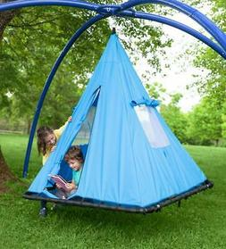 Hanging Sky Tent Swing for Kids Outdoor Play, Blue