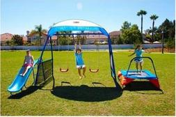 Kids Outdoor Playground Includes Trampoline, Swings and Slid