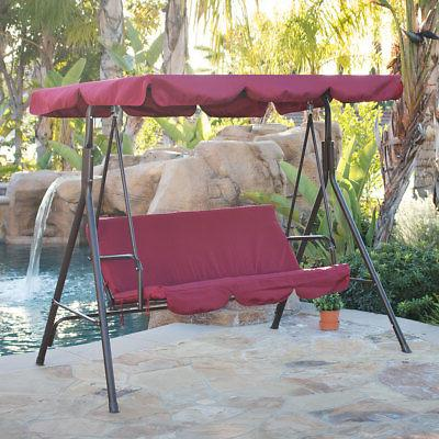 3 person patio swing canopy tilt awning