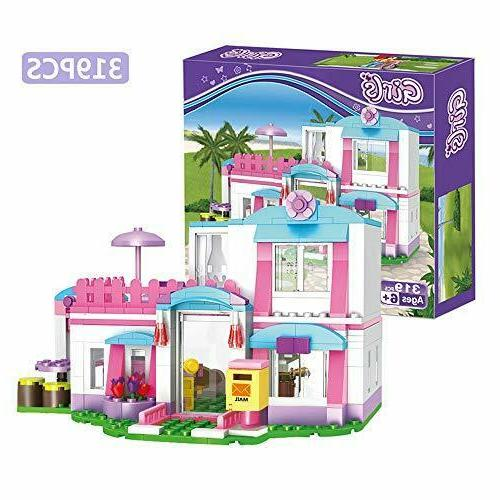 girls friends house building blocks toys pink