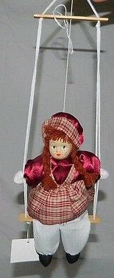"""Hanging Porcelain Girl Doll 8"""" Sitting On A Swing 16.25"""" Min"""
