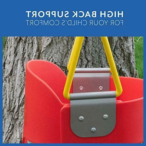 Squirrel Products High Back Full Bucket Toddler Swing with Exclusive Chain Tri
