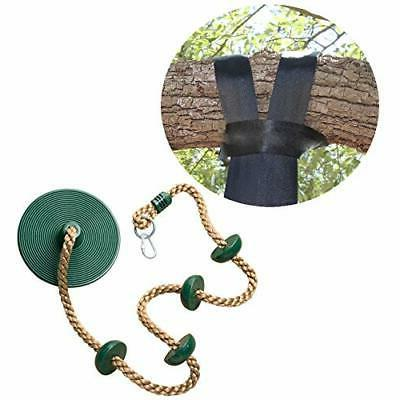 tree swing climbing rope with platforms green
