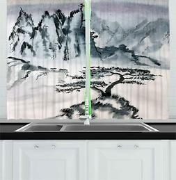 "Lonely Tree Kitchen Curtains 2 Panel Set Window Drapes 55"" X"