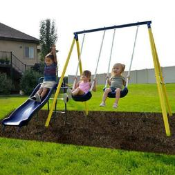 Metal Swing Set with Slide And Two Swings Toys Outdoor Play