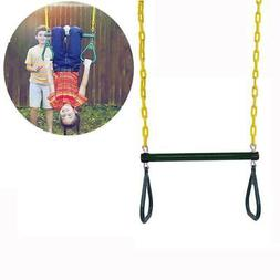 """Outdoor Heavy Duty Gym Ring 18"""" Trapeze Bar Combo Swing Acce"""