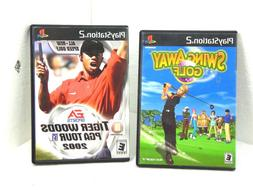 PLAY STATION 2 VIDEO GAMES LOT OF 2 SWING AWAY GOLF+T. WOODS