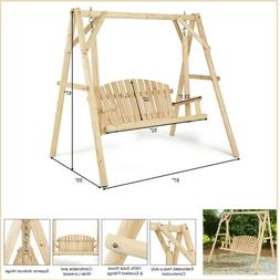 Porch Swing Wood Swings w Stand Patio Furniture Wooden Seat