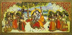 Radha Krishna on Swing/ Large size Rolled Canvas Art Print P