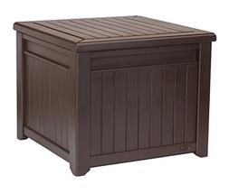 Keter 55 Gal. Resin Rattan Garden Deck Storage Cube Box, Out