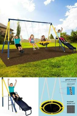 Super Saucer Metal Swing Set with 2 Swings Saucer Swing and