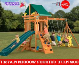 Swing Set Children Play Sets Wooden Structure Outdoor Toys S