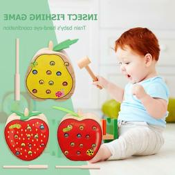 Wooden Catch Worm Game Magnetic Toys Blocks Baby Kids Learni