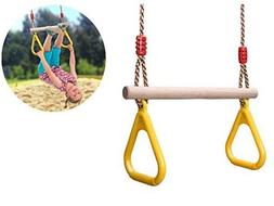 comingfit Wooden Trapeze Swing with Plastic Triangular Gym R